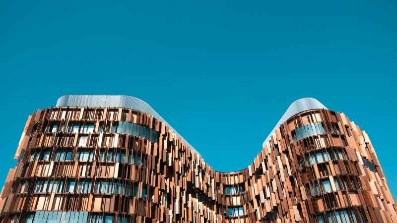 Assago Milanofiori Nord, Milan, Italy, Modern architecture, Brown building, Blue Sky, Clear sky, Office building, Pattern, 5K, Wallpaper