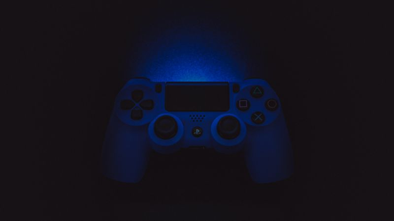 Sony DualShock 4, Black background, PlayStation 4 Controller, Gamepad, PS4, Game Controller, Blue light, 5K, Wallpaper