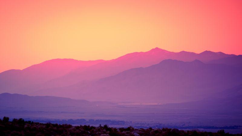 Pink sky, Sunset, Gradient, Mountains, Landscape, Beautiful, Scenery, Clear sky, 5K, Wallpaper