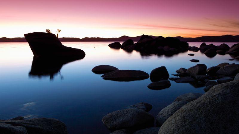 Landscape, Rocks, Lake, Sunset, Dusk, Pink sky, Body of Water, Reflection, Clear sky, 5K, Wallpaper