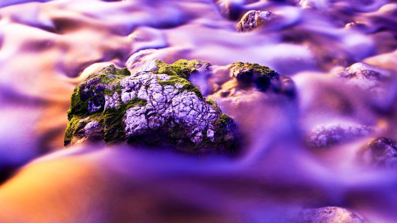 Aesthetic, Water Stream, Moss, Purple background, Long exposure, Rock, Close up, Gradient, Beautiful, 5K, Wallpaper