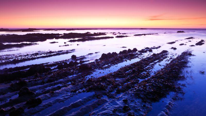 Fitzgerald marine reserve, California, USA, Moss Beach, Rocks, Sunset, Purple sky, Landscape, Seascape, Body of Water, Horizon, Clear sky, 5K, Wallpaper