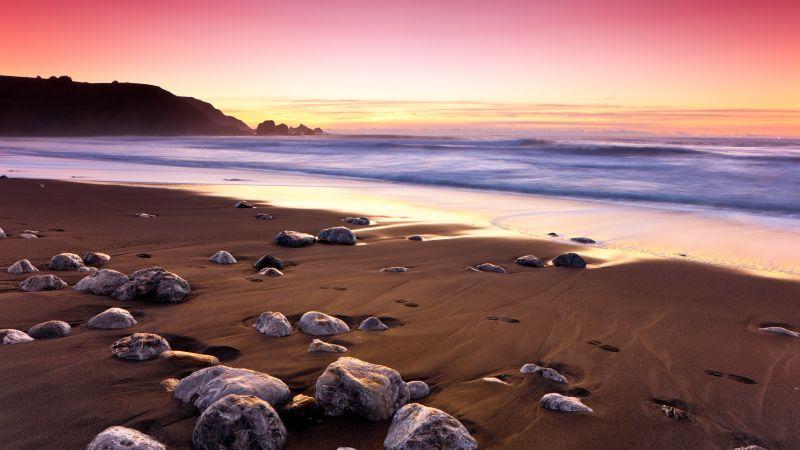 Sunset, Ocean, Pink sky, Rockaway Beach, Landscape, Seascape, Waves, Beautiful, Scenery, 5K, Wallpaper