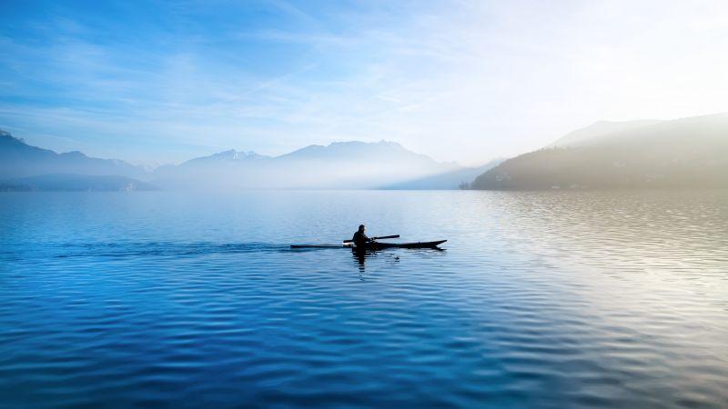 Annecy feeds, Kayak, France, Lake, Glider, Sailor, River, Waterfront, Mountains, Landscape, Foggy, Blue Sky, 5K, Wallpaper