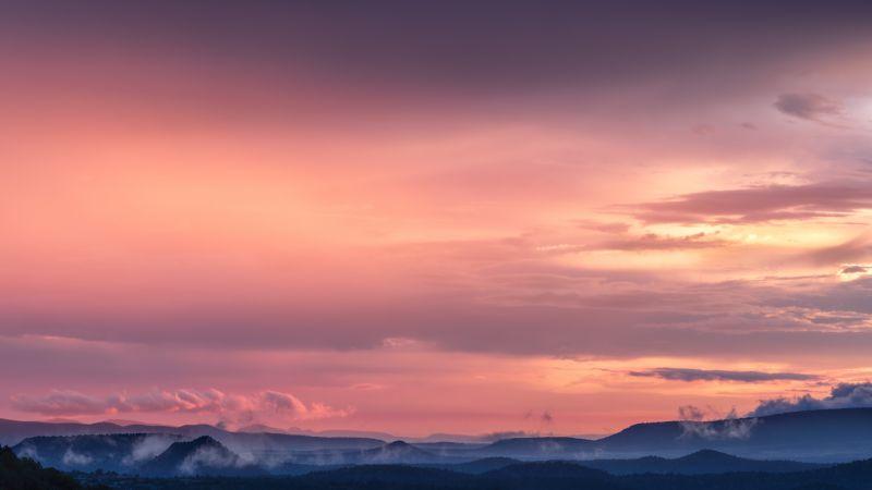 Pink sky, Sunset, Mountains, Landscape, Fog, Clouds, Dusk, Sky view, 5K, 8K, Wallpaper