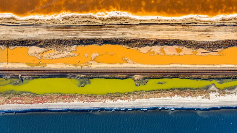 Coastline, Landscape, Aerial view, Water, Railway track, Beautiful, Pattern, Dirt road, Coast, 5K, Wallpaper