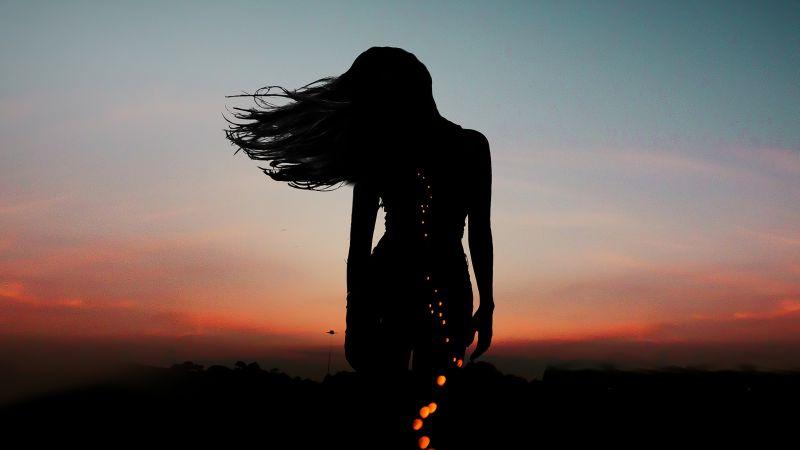 Girl, Silhouette, Aesthetic, Mood, Bokeh, Evening sky, Dusk, Wallpaper