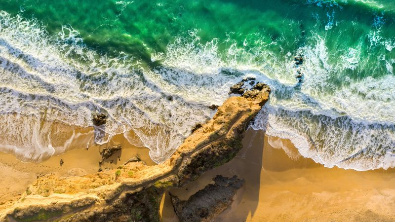 Seashore, Aerial view, Beach, Cliff, Ocean, Waves, Beautiful, Birds eye view, Sand, 5K, Wallpaper