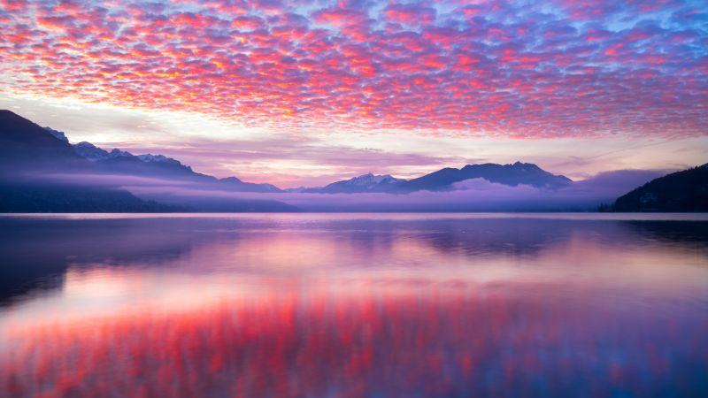Pink clouds, Reflection, Lake, Body of Water, Mountains, Landscape, Scenery, Fog, 5K, Wallpaper