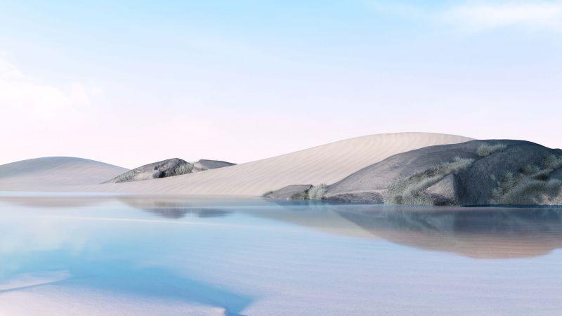 Desert, Lake, Clear sky, Ice Blue, Microsoft Surface Go, Bright, Stock, Wallpaper
