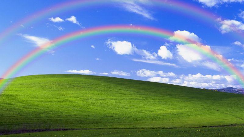 Windows XP, Bliss, Landscape, Rainbow, Blue Sky, 5K, Wallpaper
