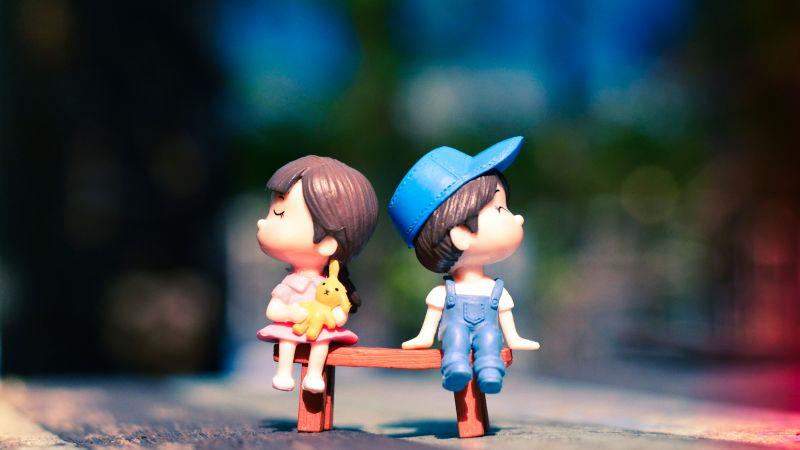 Cute couple, Adorable, Bench, Bokeh, Cute pair, Dolls, Wallpaper