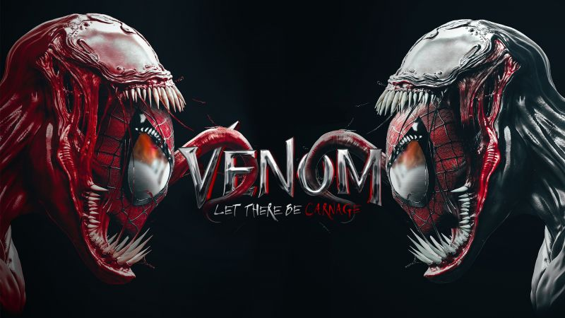 Venom, Spider-Man, Carnage, Black background, Marvel Superheroes, Fan Art, Marvel Comics, Wallpaper