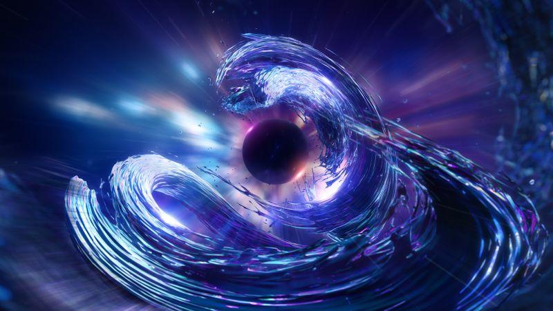 Sun, 3D, CGI, Nebula, Space phenomena, Blue, Wallpaper