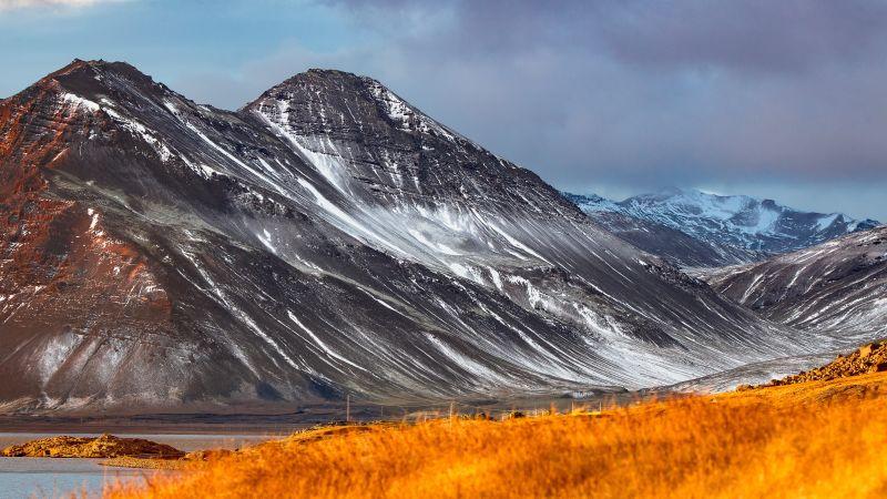 Glacier mountains, Black mountains, Snow covered, Daylight, Landscape, Iceland, 5K, Wallpaper