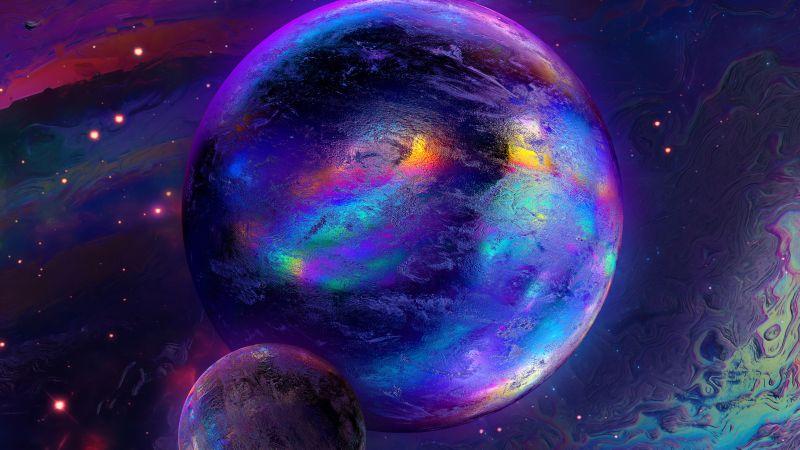 Spheres, Cosmos, Nebula, Colorful, Glowing, Rainbow, Wallpaper