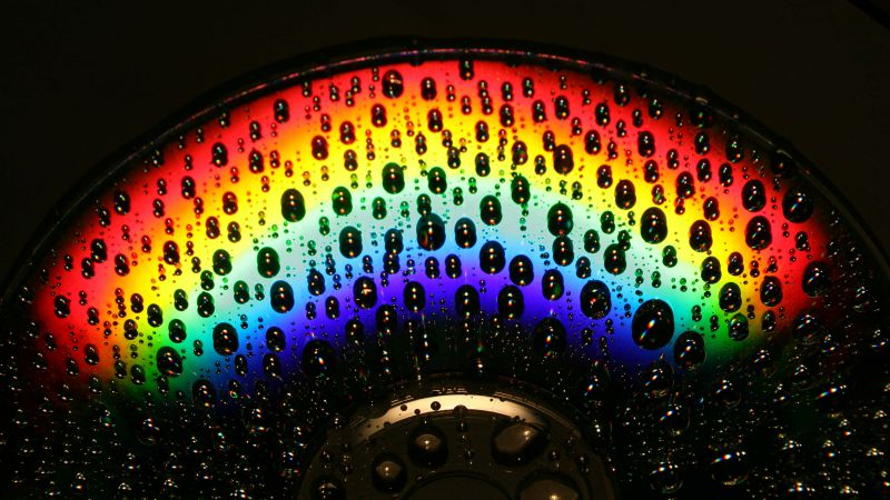 Rainbow, CD, Droplets, Macro, Dark background, Wallpaper