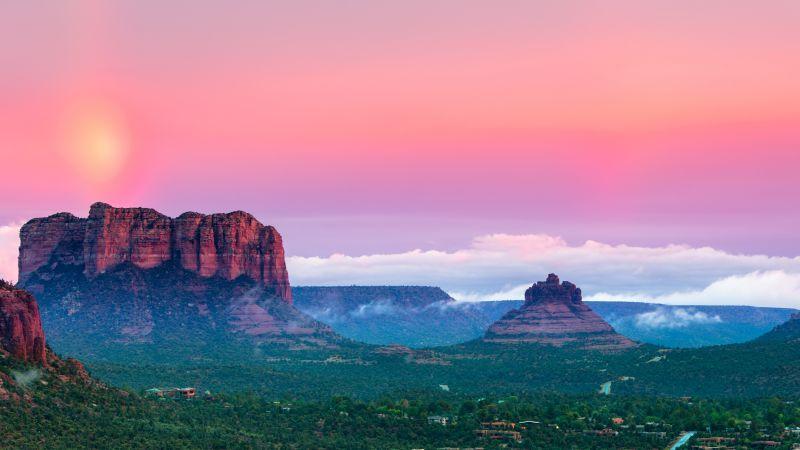 Mountains, Valley, Evening sky, Sunset, Landscape, Panorama, Pink sky, 5K, 8K, Wallpaper