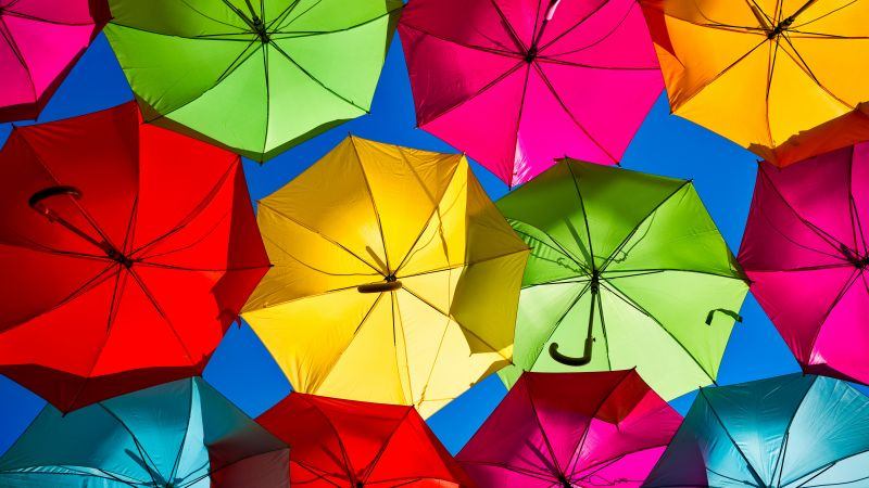 Umbrellas, Street festival, Colorful, Looking up at Sky, Rainbow colors, 5K, Wallpaper
