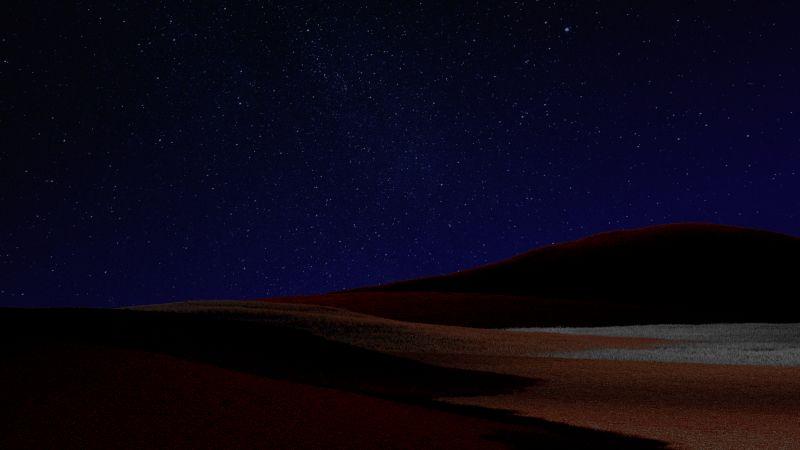 Desert, Starry sky, Dark Sky, Night, Microsoft Surface Pro X, Dark theme, 5K, Wallpaper