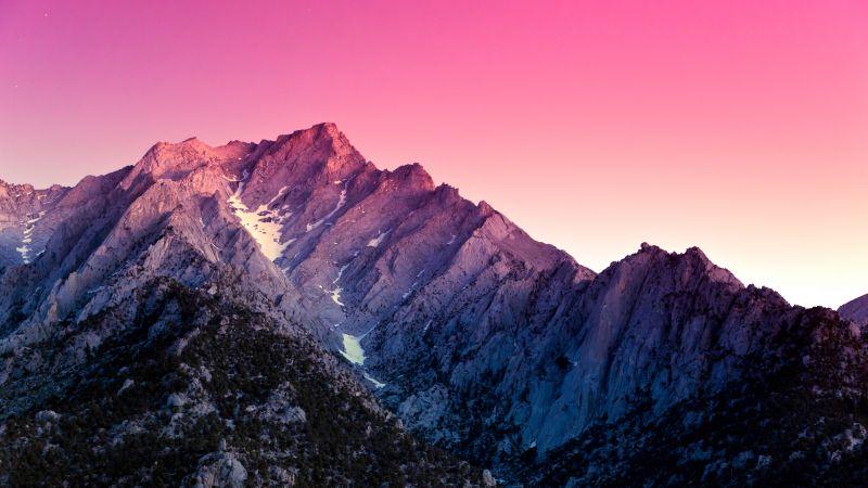 Sierra Nevada, Aesthetic, California, Mountains, Evening, Pink sky, Sunset, Gradient background, Scenic, Peak, 5K, Wallpaper