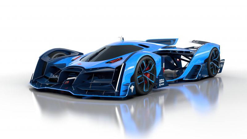 Bugatti Vision Le Mans, Hypercars, Concept cars, White background, 5K, 8K, 2020, Wallpaper