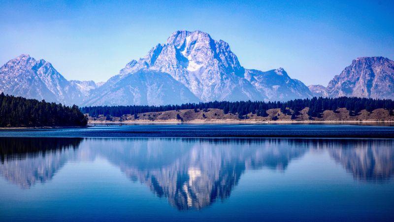 Grand Teton National Park, Mountain range, Lake, Reflections, Blue, Mountains, Daylight, Tranquility, Scenery, 5K, 8K, Wallpaper