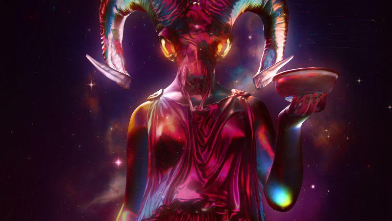 Celestial, CGI, Sculpture, Roman, Nebula, Glowing, Space, Wallpaper