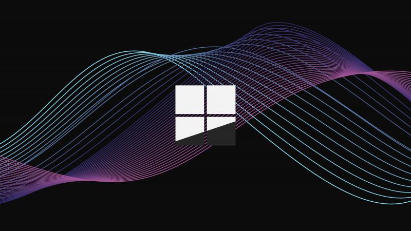 Microsoft Windows, Logo, Minimal, Waves, Dark background, Purple, 5K, Wallpaper