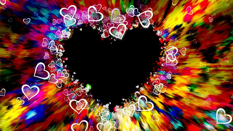 Love hearts, Colorful, Abstract, Aesthetic, 5K, Wallpaper