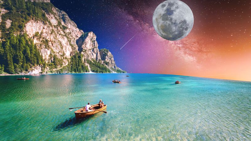 Holidays, Moon, Starry sky, Tour, Seascape, Boating, Collage, Couple, Honeymoon, Cliff, 5K, Wallpaper