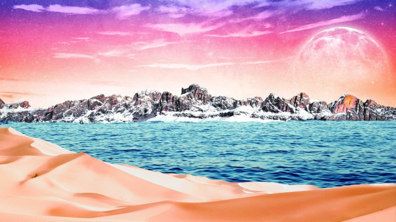 Mountains, Desert, Sea, Collage, Sunny day, Bright, Surreal, 5K, Wallpaper