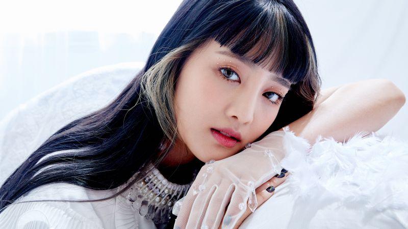 Minnie, Korean singer, K-Pop singer, South Korean, White background, 5K, Wallpaper