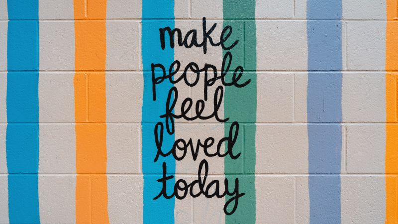 Make people feel, Love today, Popular quotes, Brick wall, Stripes, Colorful, 5K, Wallpaper
