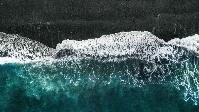 Beach, Aerial view, Seashore, Ocean, 5K, Wallpaper