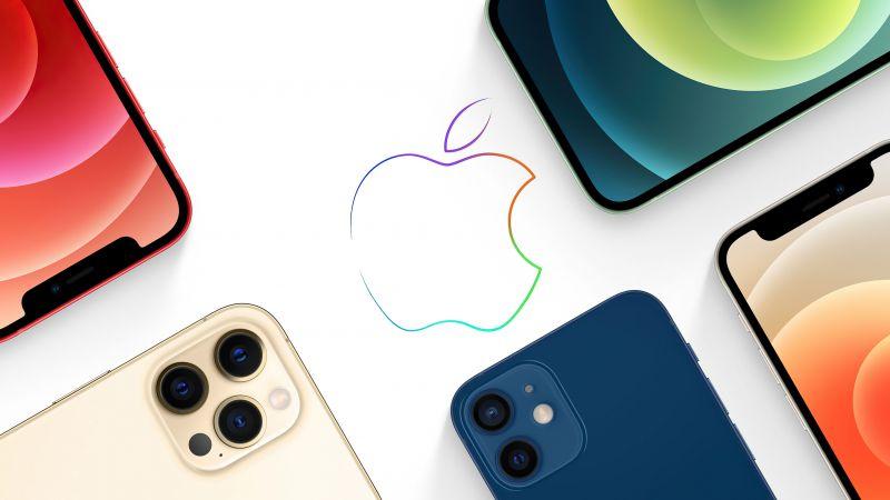 Apple logo, iPhone 12, iPhone 12 Pro, iPhone 12 Pro Max, iPhone 12 Mini, Apple Event, White background, Wallpaper
