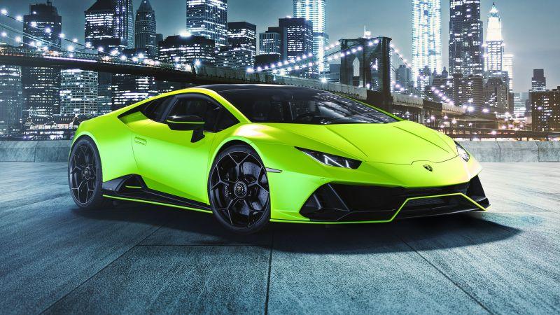 Lamborghini Huracan EVO Fluo Capsule, Brooklyn Bridge, Night, New York City, 2021, Wallpaper