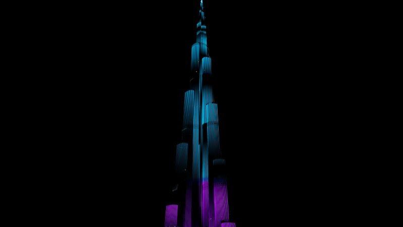 Burj Khalifa, Night illumination, Night lights, Light show, Dark background, 5K, 8K, AMOLED, Wallpaper