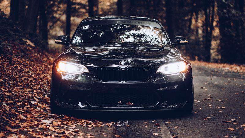 BMW, Black cars, Cinematic, Autumn, Foliage, Road, Tarmac, Wallpaper