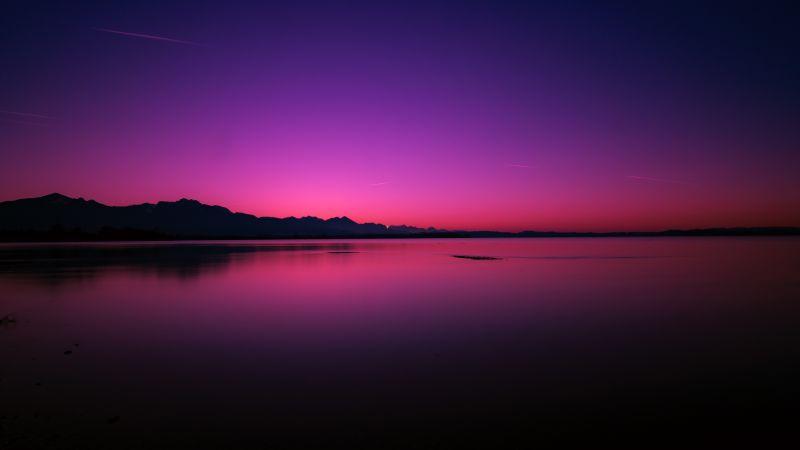 Sunset, Lake, Dusk, Purple sky, Reflection, Dawn, Body of Water, Dark, Backlit, Wallpaper