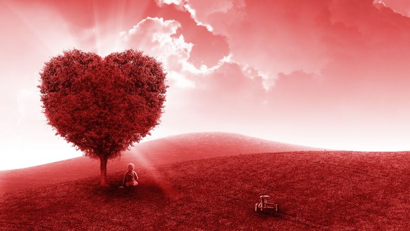 Landscape, Heart tree, Red background, Child, Dream, Clouds, Red Sky, Aesthetic, Wallpaper