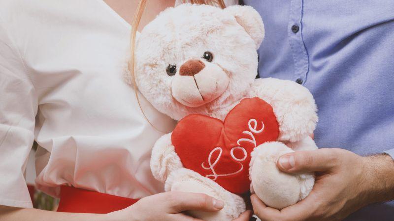Teddy bear, Couple, Heart, Valentine, Romantic, Cute, 5K, Wallpaper