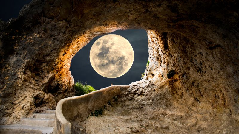 Full moon, Cave, Steps, Path, Tunnel, Landscape, Stairs, 5K, Wallpaper