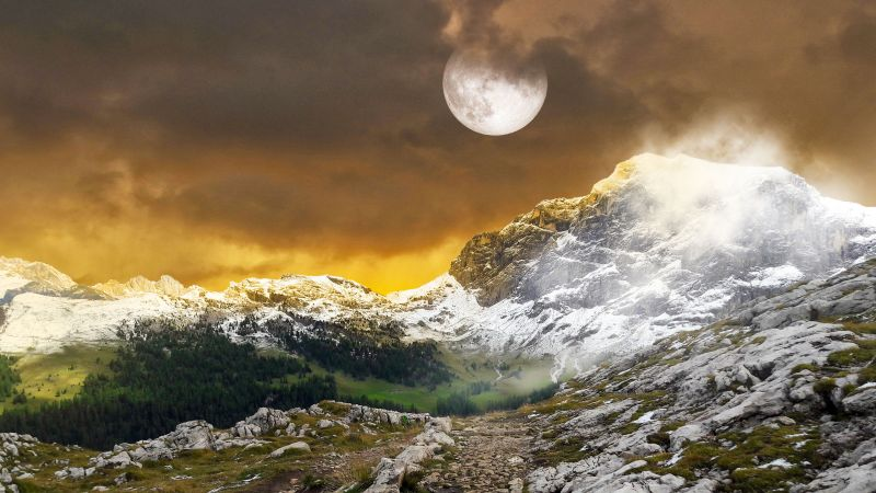 Mountains, Landscape, Full moon, Hiking trail, Pathway, Snow covered, Dark clouds, Fog, Meadow, 5K, Wallpaper