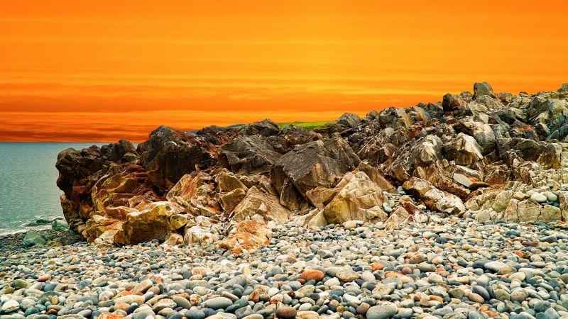 Landscape, Orange sky, Rocks, Pebbles, Sunset, Ocean, Coastal, Scenery, Water, 5K, Wallpaper