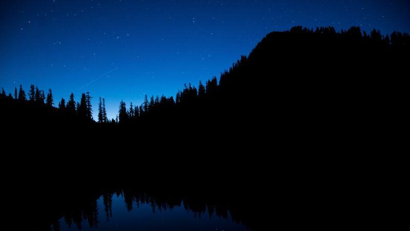 Snow Lake Trail, Washington, United States, Silhouette, Blue Sky, Stars, Body of Water, Reflection, Trees, Dark background, Wallpaper