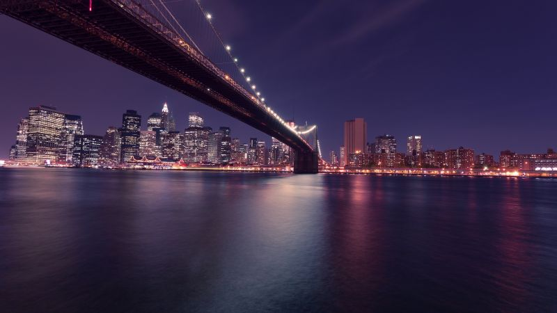 Brooklyn Bridge, New York, United States, Body of Water, Cityscape, Night time, City lights, Reflection, Skyscrapers, City Skyline, Wallpaper