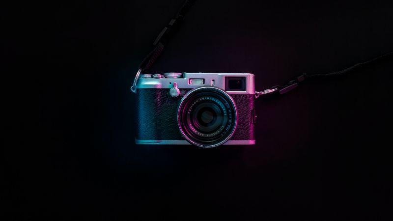 Vintage Camera, Fujifilm, Black background, Purple light, SLR Camera, 5K, AMOLED, Wallpaper