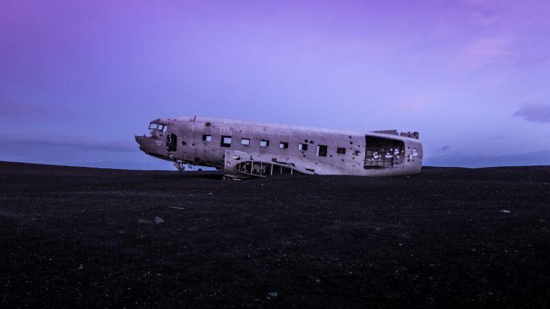 Crashed Airplane, Douglas DC-3, Wrecked, Abandoned, World War II, Fuselage, Purple sky, Wallpaper