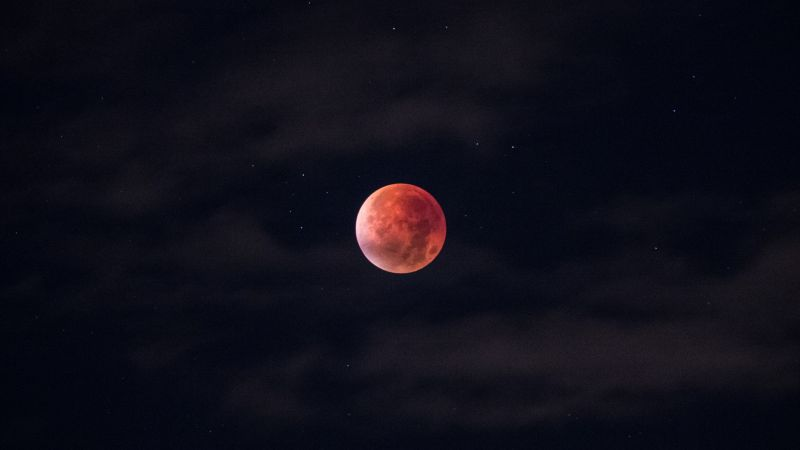 Blood Moon, Total Lunar Eclipse, Black background, Night time, Sky view, Stars, Dark Sky, Outer space, Astronomy, Outdoor, Beautiful, Wallpaper